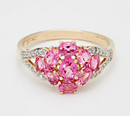 14K Gold Pink Spinel & Diamond Cluster Ring, 1.40 cttw - J360259