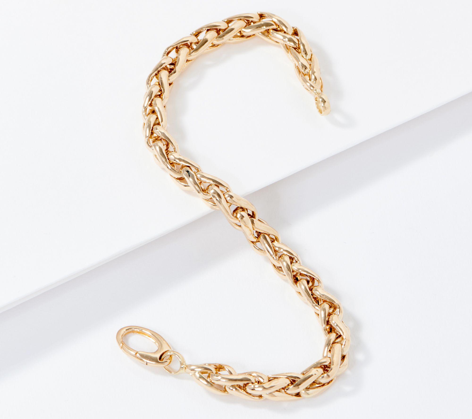 Eternagold Bold Polished Wheat Design Bracelet 14k Gold Qvc