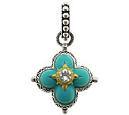 Barbara Bixby Sterling & 18K Gold Turquoise Flower Pendant - J384259