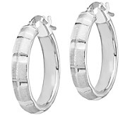 Italian Gold Bamboo Pattern Hoop Earrings, 14K - J385559