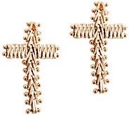 Imperial Gold Wheat Flexible Cross Button Earrings, 14K - J388759