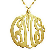 7/8 Personalized Script Pendant w/ Chain, Sterling/Plated - J313060