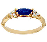 Judith Ripka 14K Gold 0.40 cts Sapphire & 1/10 cttw Diamond Ring - J331660