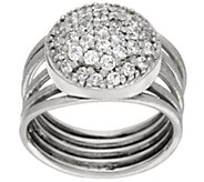 As Is Italian Silver Sterling Pave Crystal Multi-Row Ring - J334160