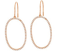 Diamonique Elongated Oval Dangle Earrings Sterling - J349760