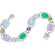 Oval Jade and Multi-Gemstone Sterling Silver Tennis Bracelet - J349960