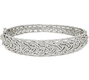 Sterling Silver Braided Hinged Bangle by Silver Style - J355260