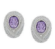 As Is Judith Ripka Sterling Monaco Bezel Set Gemstone Earrings - J355460