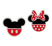 Mickeys 90th Birthday Mickey & Minnie Stud Earrings, Sterling Silver - J358060
