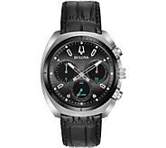 Bulova Mens CURV Chronograph Leather Strap Watch - J377560
