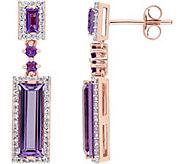 3.35 cttw Amethyst & 3/10 cttw Diamond Drop Earrings, 14K - J377760