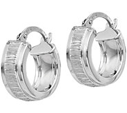 Italian Silver Textured Hoop Earrings, Sterling - J379860