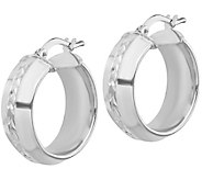 Italian Silver Diamond-Cut Round Hoop Earrings - J383060