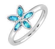 Simply Stacks Sterling & Blue Topaz Romantic Flower Ring - J299461