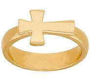 Bronze Polished Horizontal Cross Ring by Bronzo Italia - J325861