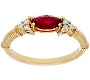 Judith Ripka 14k Gold Emerald or Ruby & 1/10 cttw Diamond Ring - J331661