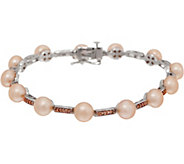 Honora Cultured Pearl and Diamond 6-3/4 Bracelet Sterling - J350661