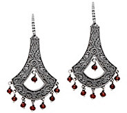 Artisan Crafted Sterling Silver Garnet Chandelier Earrings - J385161