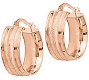 Italian Gold Satin Channel Hoop Earrings, 14K - J385561