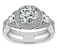 Diamonique Sterling Silver Round Halo Ring - J385661