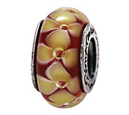 Prerogatives Sterling Yellow and Red Floral Glass Bead - J108862