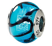 Prerogatives Sterling Blue & Black Italian Murano Glass Bead - J111562