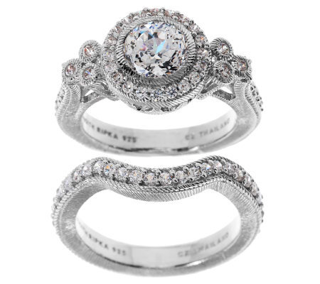 qvc wedding rings judith ripka sterling 1 85ct diamonique bridal ring set 6936