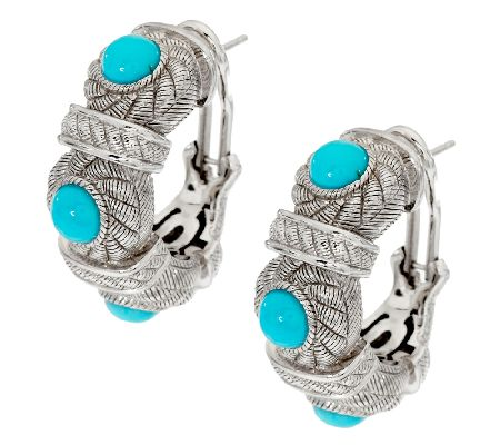 019639478 Judith Ripka Sterling J Hoop Earrings w/ Turquoise Cabochons - Page ...