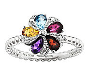 Simply Stacks Sterling Multi-Gemstone Flower Ring - J313162