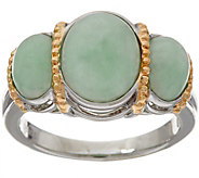 Jade Oval 3-Stone Sterling Silver Ring - J348162