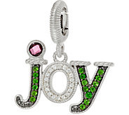 Judith Ripka Sterling Silver Gemstone & Diamonique Joy Charm - J349562
