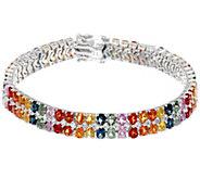 Colors of Sapphire & White Topaz 7-1/4 Sterling Tennis Bracelet - J350062