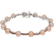 Honora Cultured Pearl and Diamond 7-1/4 Bracelet Sterling - J350662