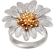 As Is Italian Silver Sterling Flower Ring - J357062