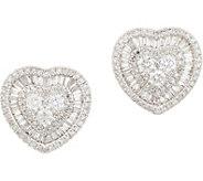 Affinity Diamond 14K Gold Heart Stud Earrings, 1.00 cttw - J359562