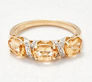 14K Gold Imperial Topaz & Diamond Band Ring, 2.00 cttw - J360262