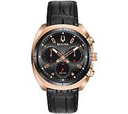 Bulova Mens CURV Chronograph Leather Strap Watch - J377562