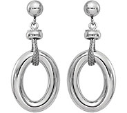 Italian Silver Oval Dangle Post Earrings, Sterling - J379862
