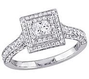 Affinity 14K Gold 1.25 cttw Princess-Cut Diamond Halo Ring - J381362
