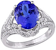 14K 4.35 cttw Tanzanite & 4/10 cttw Diamond Cocktail Ring - J392362