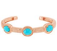 As Is Sleeping Beauty Turquoise Small Diamond Cut Hinged Cuff - J322563