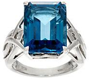 Emerald Cut London Blue Topaz Sterling Silver Ring 12.00 cts - J329263