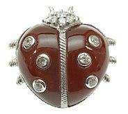 Judith Ripka Sterling Silver Dyed CarnelianLady Bug Pin - J340163