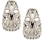 Italian Silver Sterling Openwork Earrings wit hOmega Back - J341963