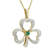 Solvar Diamond & Emerald Accent Pendant w/ Chain, 14K - J345763