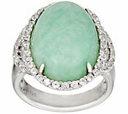 Jade & White Zircon Sterling Silver Ring 0.75 cttw - J348163