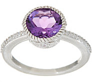 Judith Ripka Sterling Silver Amethyst or Citrine Solitaire Ring - J350263