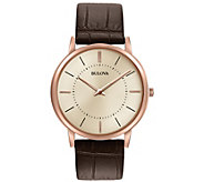Bulova Mens Stainess Rosetone Ultra-Slim Leather Strap Watch - J384463