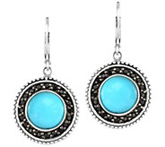 Sterling Round Turquoise w/ Black Spinel Halo Earrings - J384563