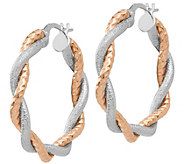 Italian Gold 1 Two-Tone Twisted Hoop Earrings,14K Gold - J385763